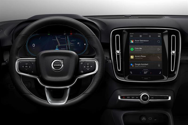 Volvo XC40 -täyssähköautossa nähdään täysin uusi Android-pohjainen tieto- ja viihdejärjestelmä, jossa on sisäänrakennettuja Googlen teknologioita